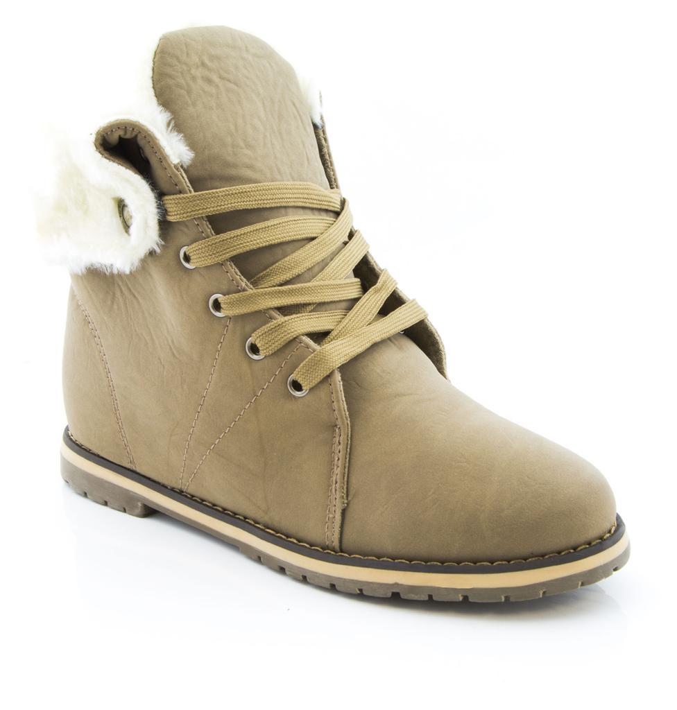 Señoras para mujer de invierno completo forro de piel alta botón superior formadores Bombas Zapatos de chicas