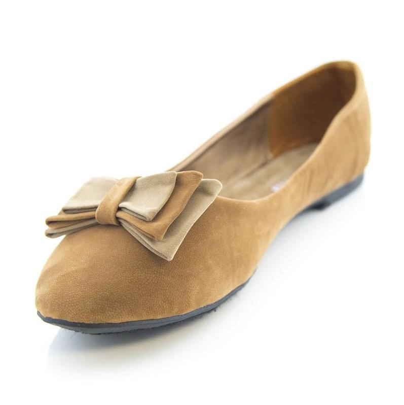 Nuevo Chicas Bailarina Arco de ante para mujer señoras plana Dolly Bombas Zapatos informales de oficina