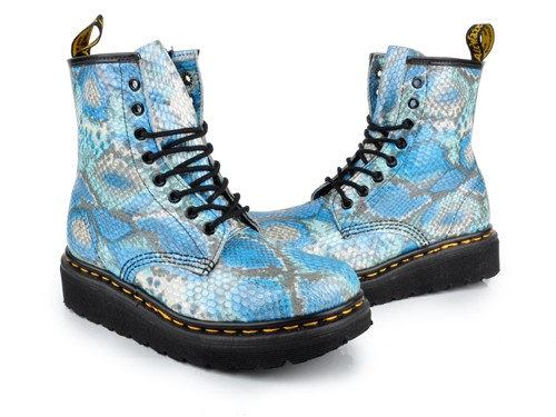 Dr-Martens-Womens-Boots-shoes-SNAKESKIN-Blue
