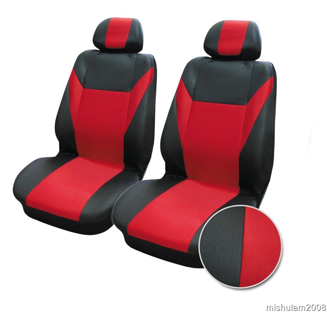 2 vordere sitzbez ge schonbez ge universal f r auto rot schwarz neu ebay. Black Bedroom Furniture Sets. Home Design Ideas