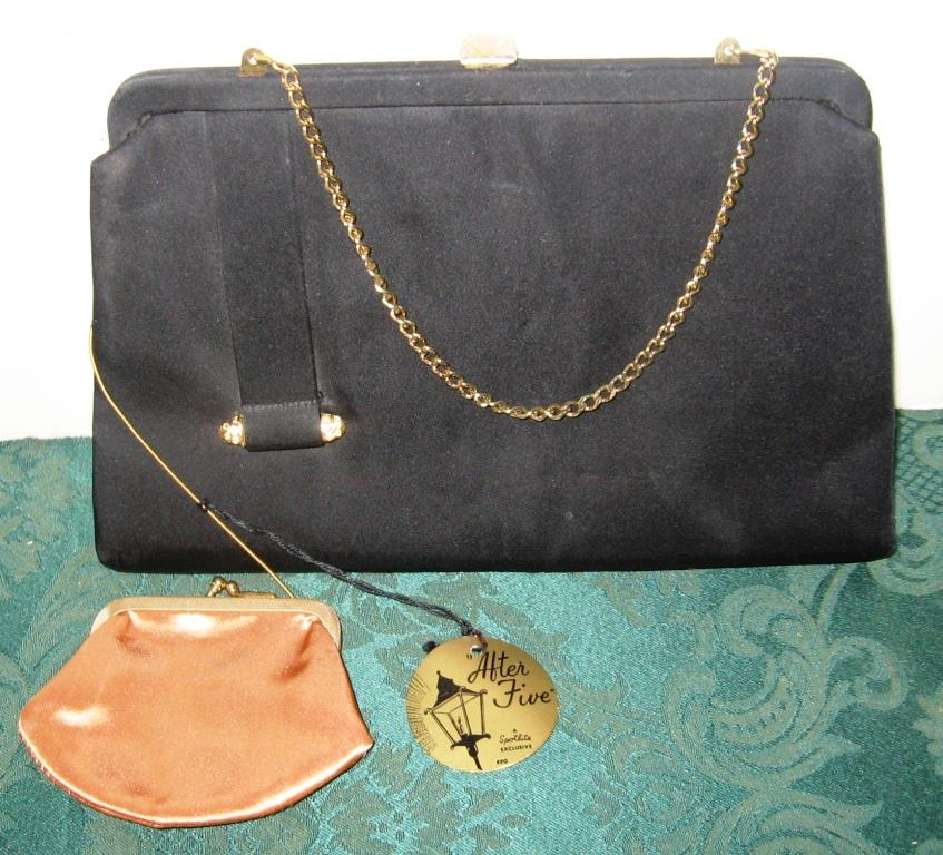 Vintage After Five Black Satin W Gold Rhinestone Evening Clutch Bag Change Purse | EBay