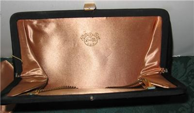 Vintage After Five Black Satin W/Goldu0026Rhinestone Evening Clutch Bagu0026Change Purse | EBay