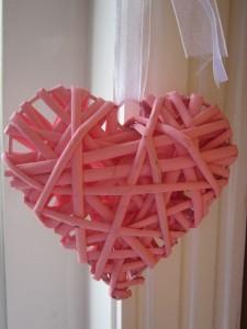 Bright Pink Hanging Wicker Heart Girly Home Accessories Wedding Decor Gift Ebay