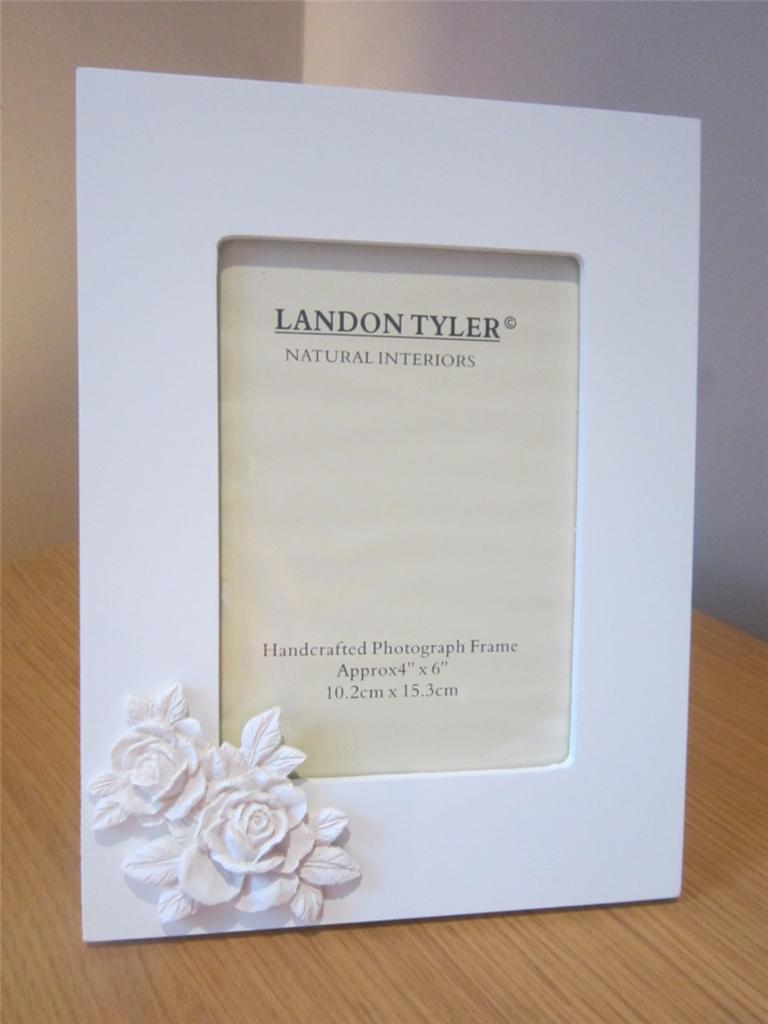 4x6 5x7 white photo frame with 3d roses picture wedding for Shabby chic frames diy