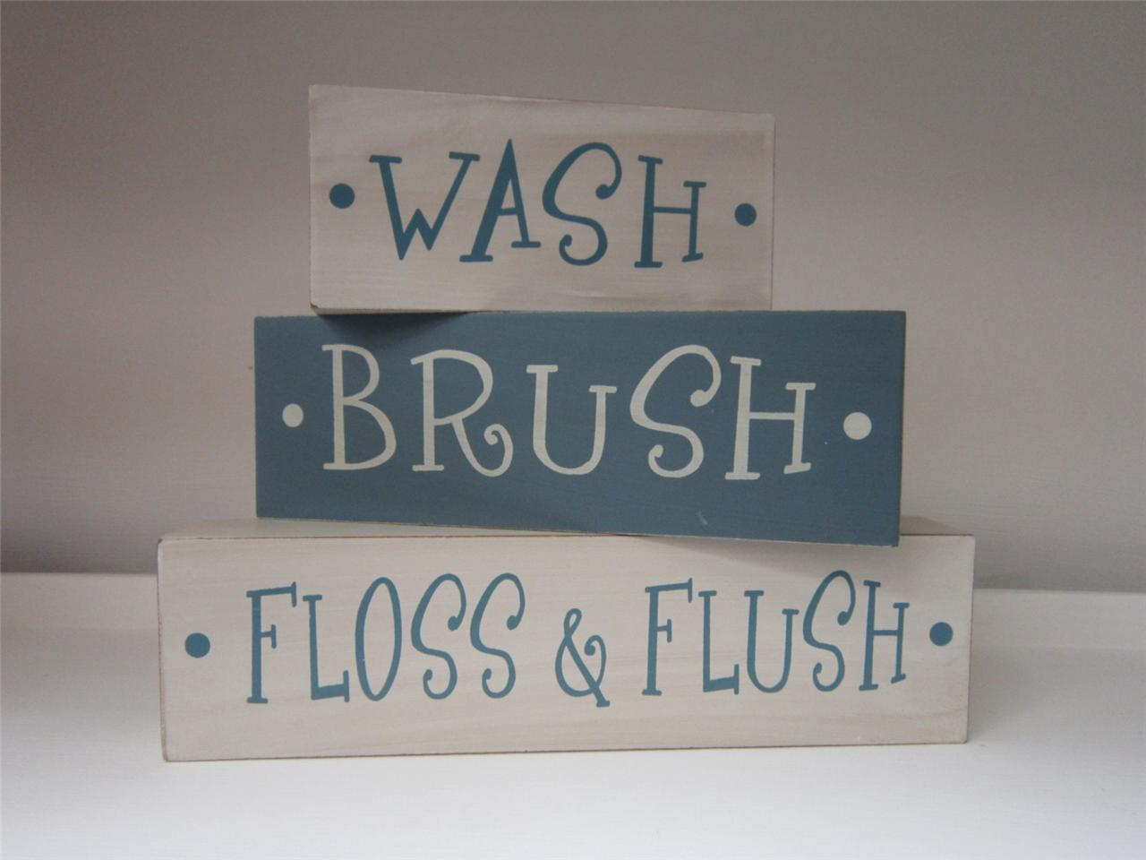 3 wood blocks white blue wash brush rise home decor for Bathroom decor quotes