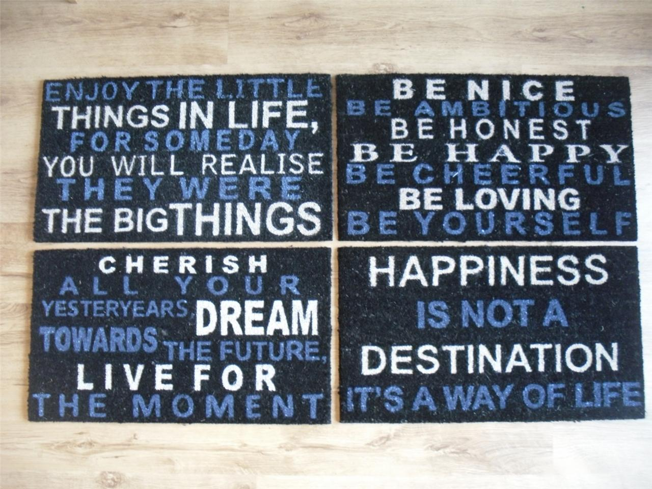 Sayings door mat rug black blue cream front back outside for Hard exterior quotes