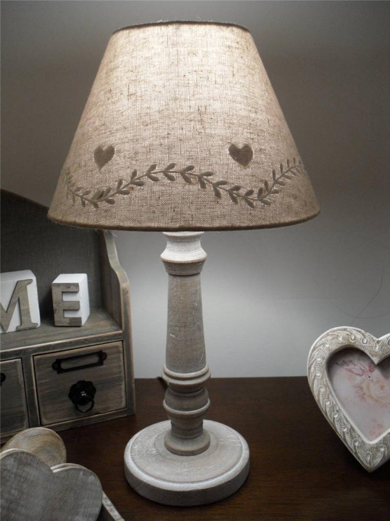 BEIGE CREAM TABLE LAMP BUTTERFLY BOW SPOTS SHADE LIGHT CHIC SHABBY HOME LINEN