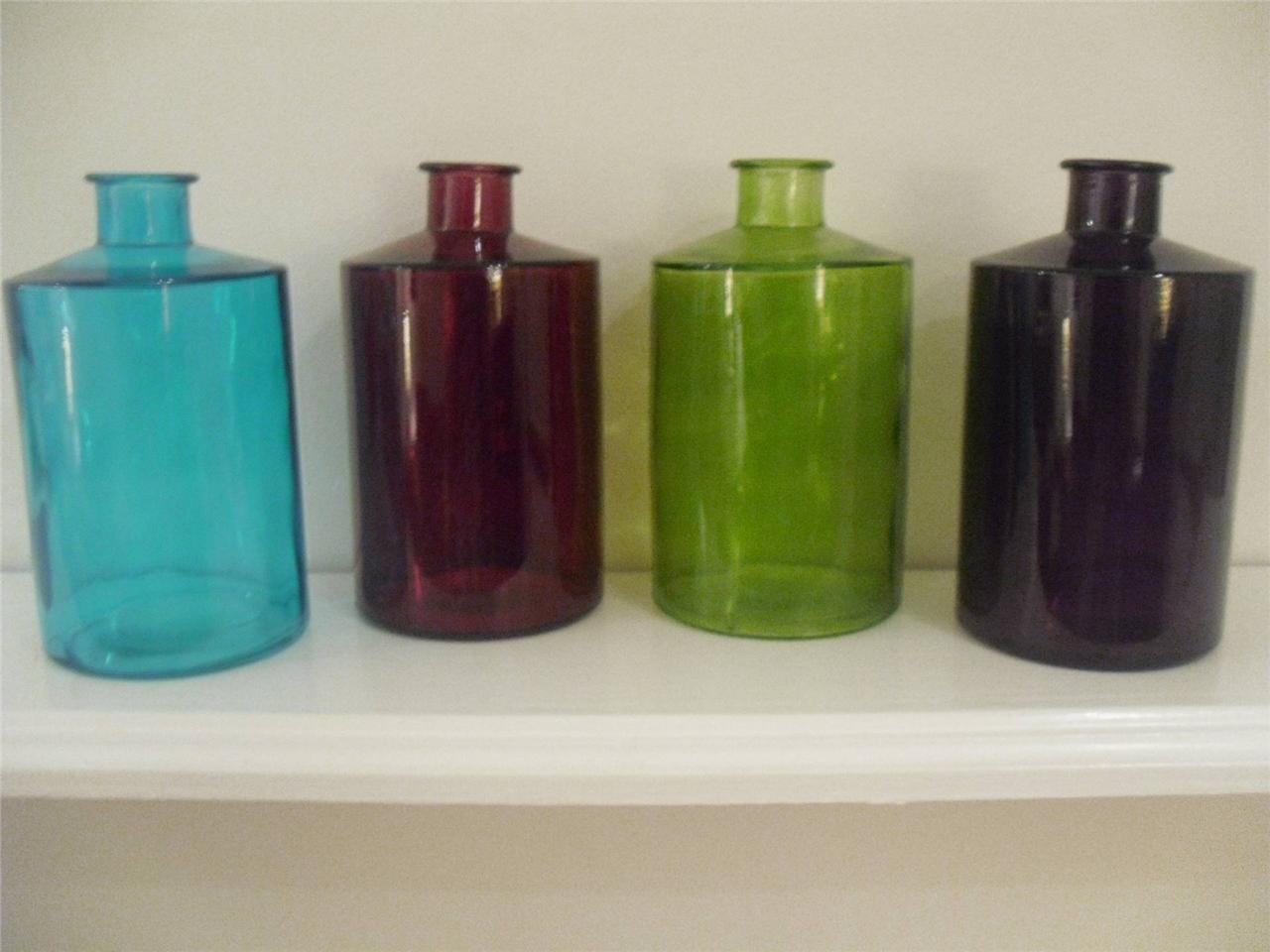 GLASS-RED-PURPLE-TEAL-GREEN-VASE-FLOWER-ORNAMENT-HOME-DECOR-ACCESSORY-CHRISTMAS