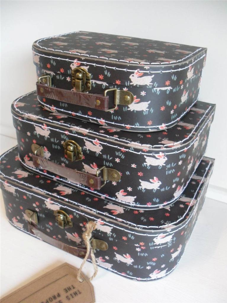 SET OF 3 DECORATIVE STORAGE BOXES SHABBY CHIC KIDS VINTAGE RETRO ACCESSORY BOX