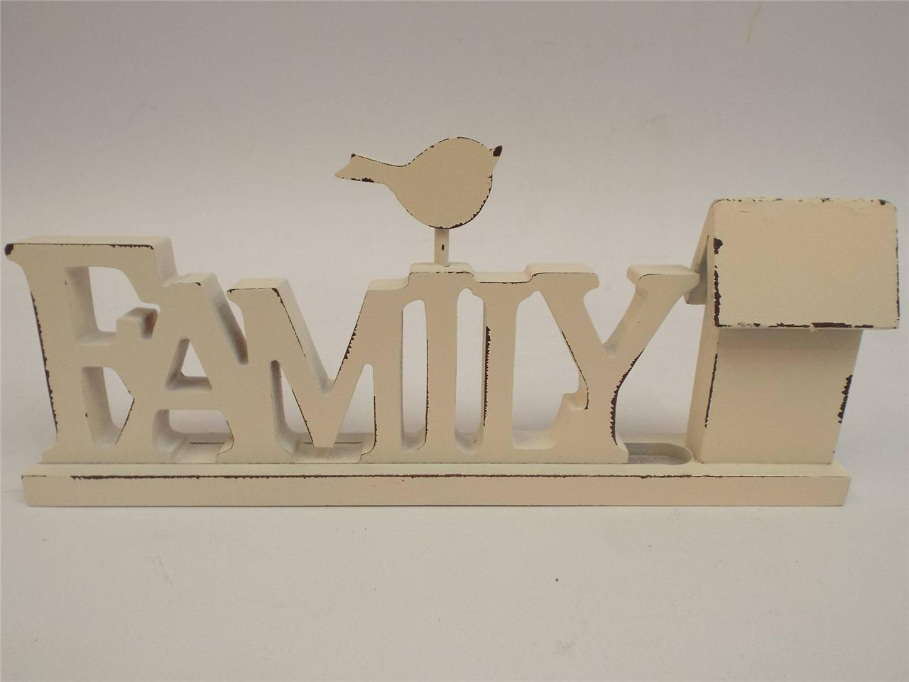 FRIENDS FAMILYWOOD WORD BLOCK WHITE PINK  HOME ACCESSORY ORNAMENT LIVING ROOM