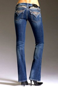 Mek Silver Crystal Studded Angel Wing Bootcut Jeans euc 26x32.5