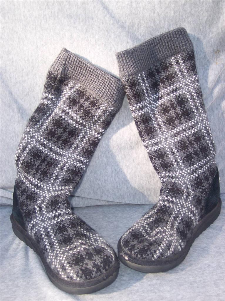 ugg australia black gray cardy plaid crochet knit sweater