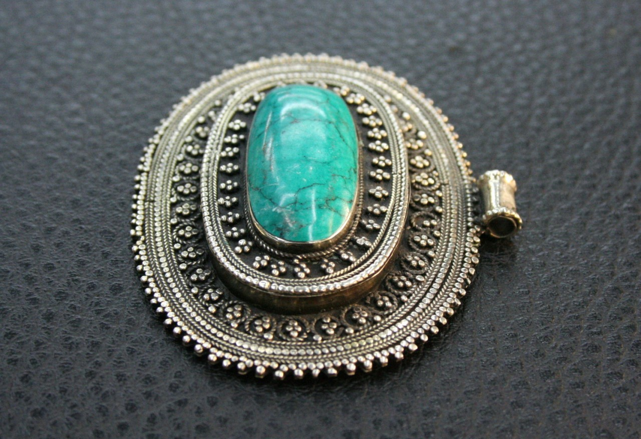 Vintage turkoman ethnic green turquoise silver pendant ebay for A href decoration none