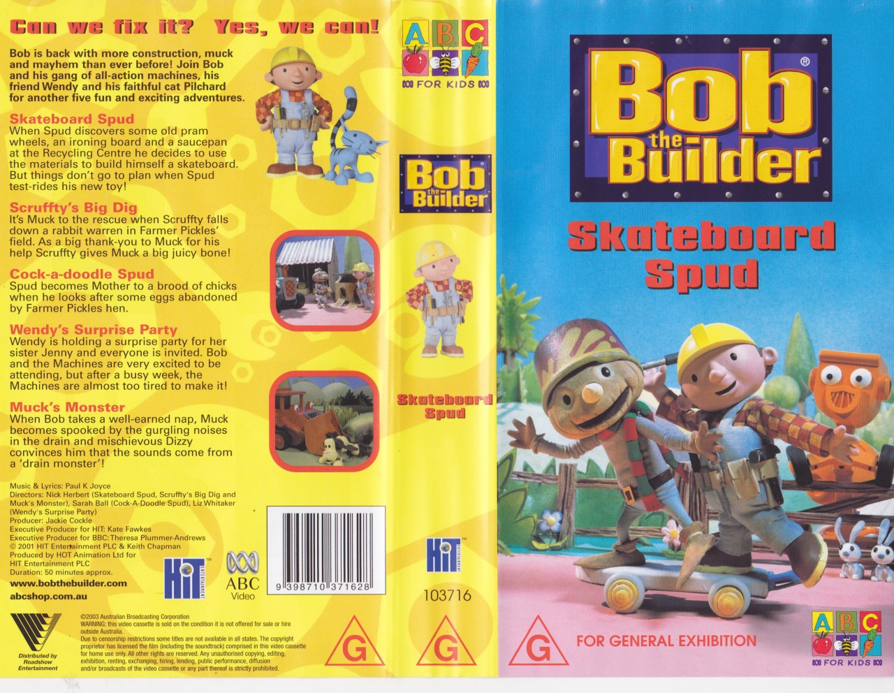 Bob the builder skateboard spud video vhs a rare find ebay Where to find a builder