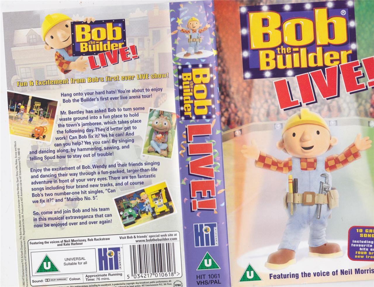 Bob the builder bob live vhs video pal a rare find ebay Where to find a builder