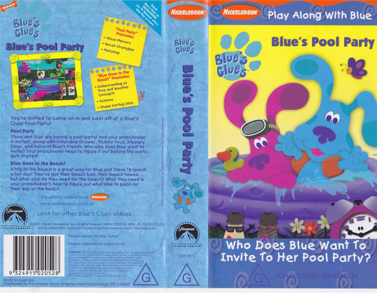Blues Clues Blues Pool Party Vhs Video Pal A Rare Find