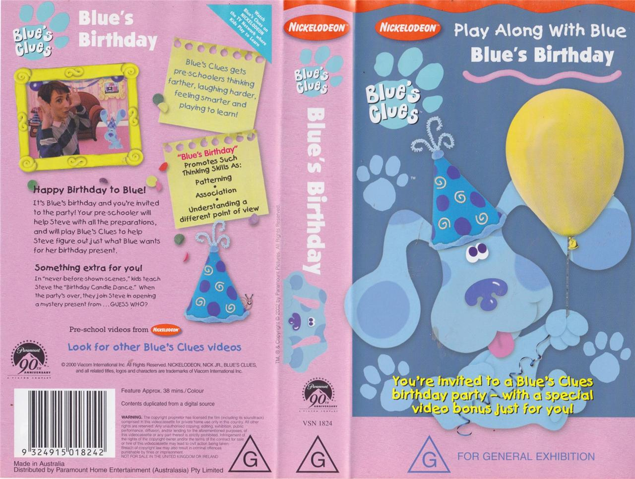 Opening To Blue's Clues:Blue's Birthday 1998 VHS - YouTube