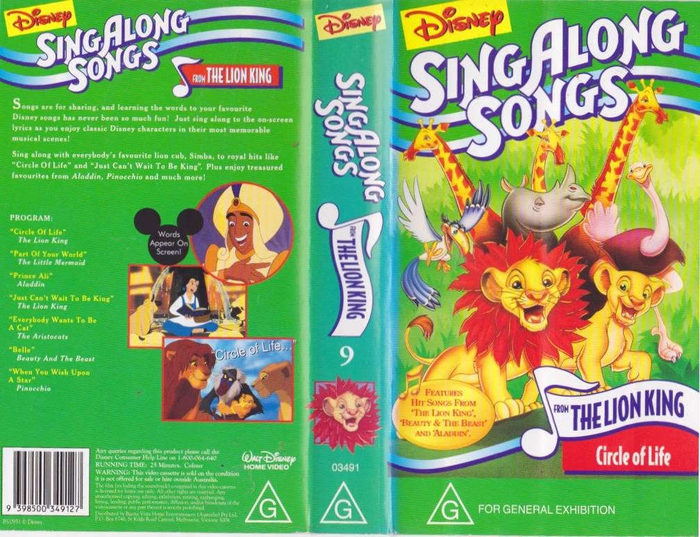 sing along songs the lion king disney vhs pal video a rare