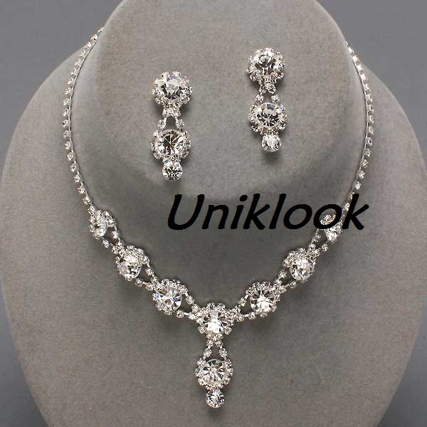 about bridesmaid formal bridal clear crystal elegant costume jewelry