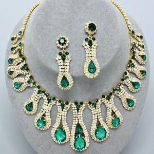 evening collar emerald green bridal prom necklace set