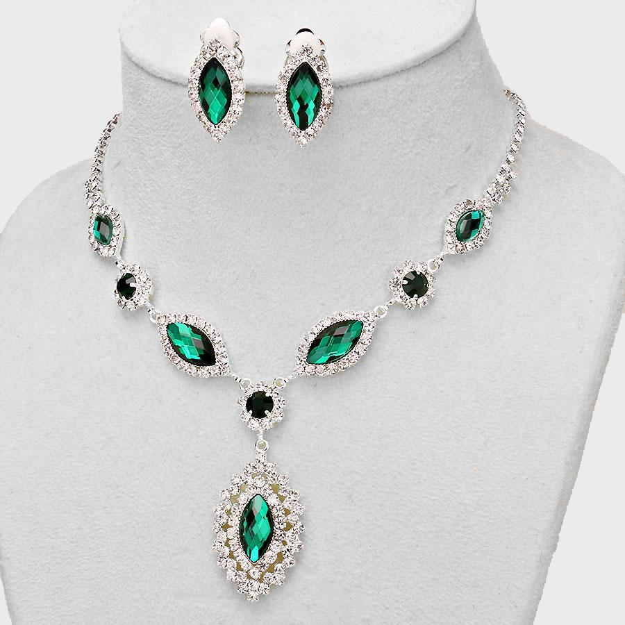 Affordable Emerald Green Crystal Necklace Clip on Earring Wedding Formal Jewe