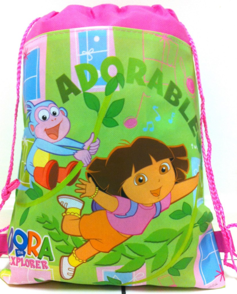NEW-14-Dora-The-Explorer-PINK-Childrens-Draw-String-Bag-Backpack-FREE-SHIPPING