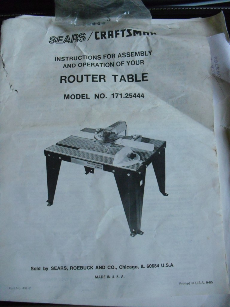 SEARS-CRAFTSMAN-ROUTER-TABLE-171-25444