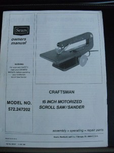 CRAFTSMAN 15 SCROLL SAW/SANDER MODEL 572.247202