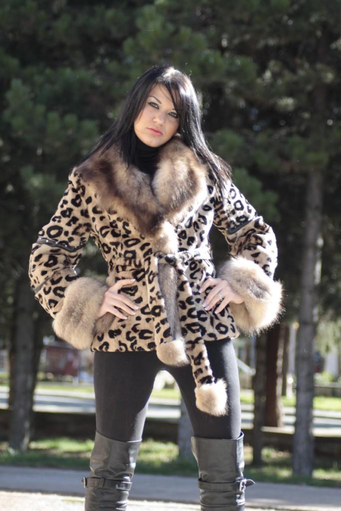 leopard print fur jacjet