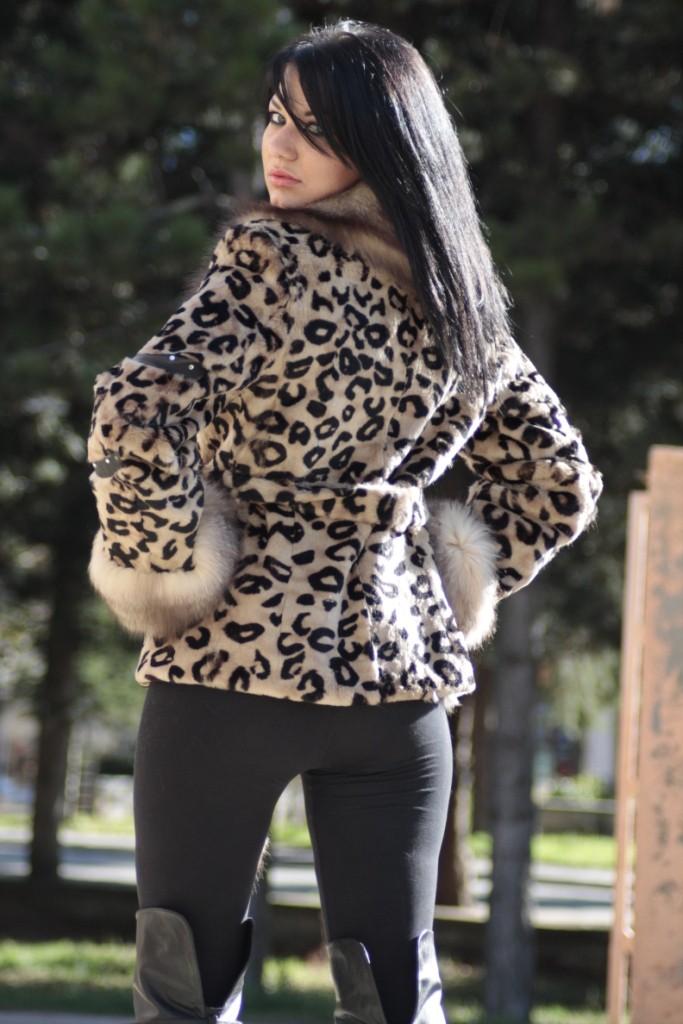 sheared rex rabbit leopard print fur jacket