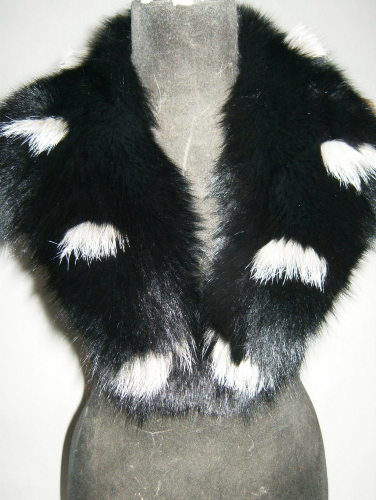 black and silver fox fur collar