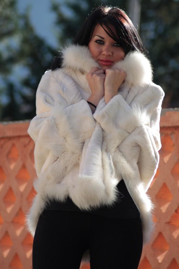 sheared white mink fur cape