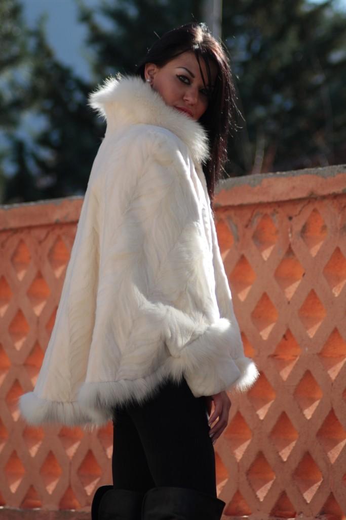 white mink fur cape with fox fur trim