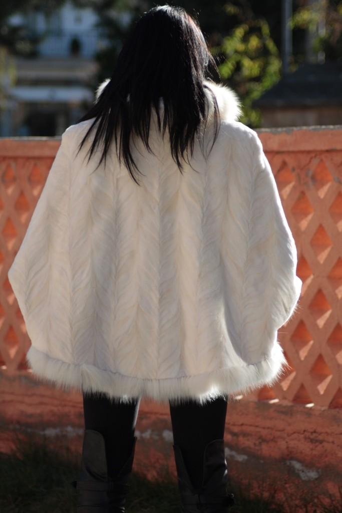 white fox fur trim accentuating white mink fur cape