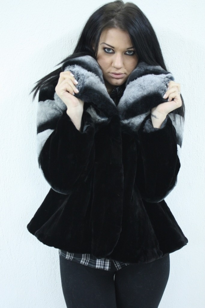 BLACK NINK FUR JACKET WITH REX CHINCHILLA TOP