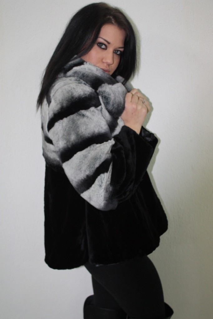 black mink fur and gray chinchilla fur jacket side view