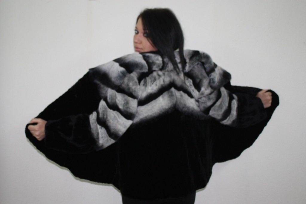 black mink fur and gray chinchilla fur jacket rear view