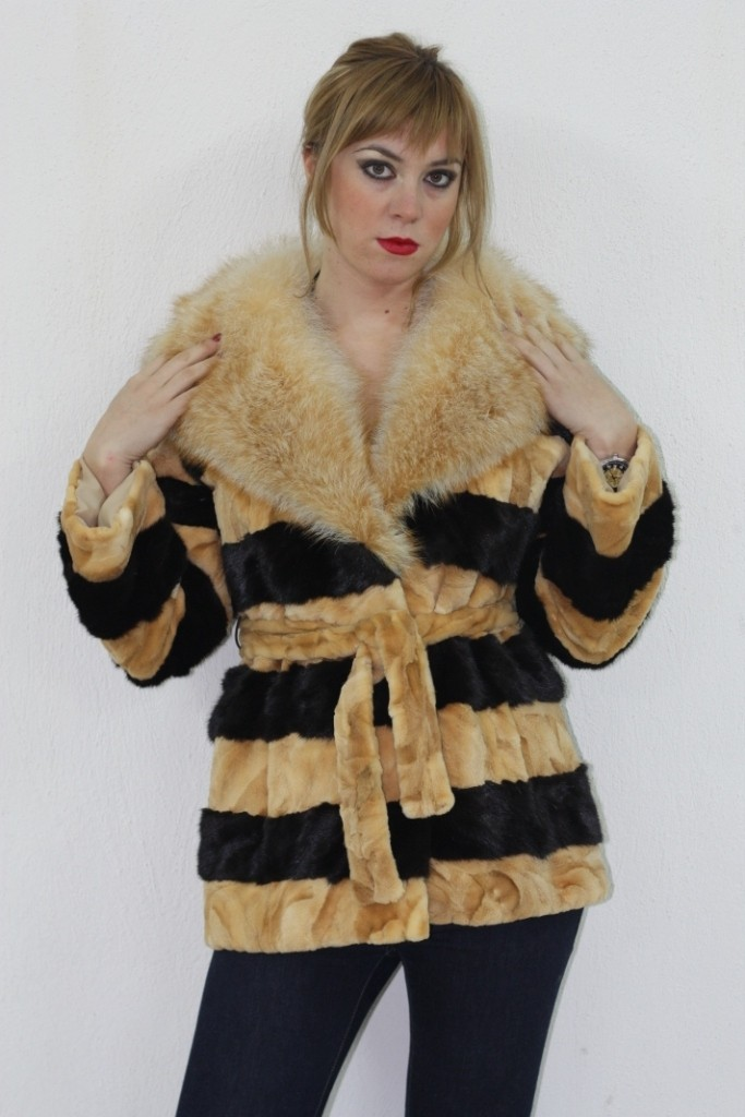 black and beige mink fur jacket with fox collar
