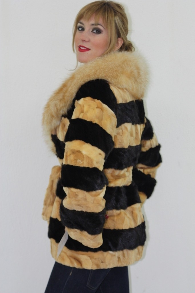 multicolor mink fur jacket in fur store