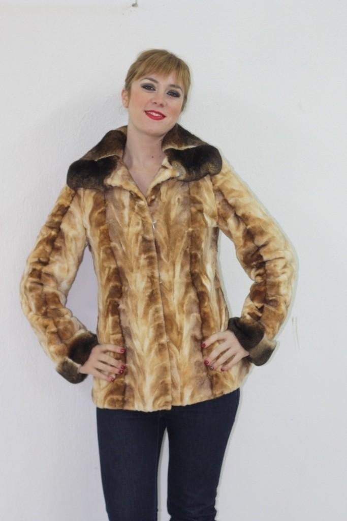 brown sheared mink fur jacket