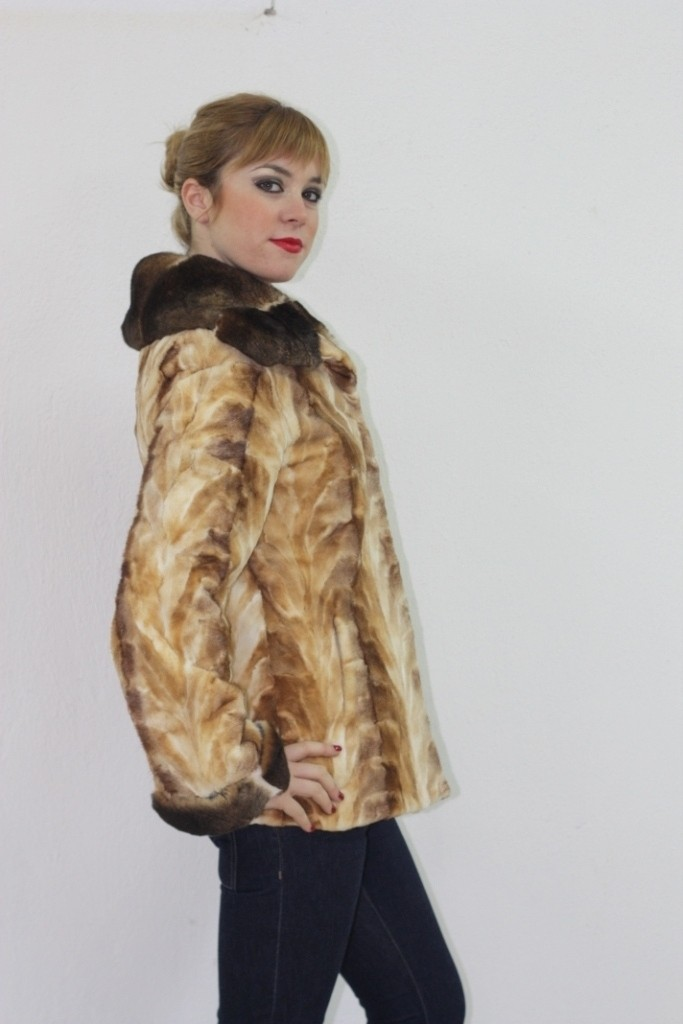 sheared mink fur jacket with rex fur collar