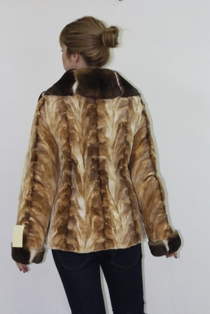 sheared mink fur jacket tapered waist