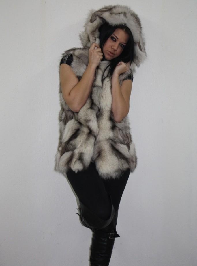 blue fox fur vest hooded