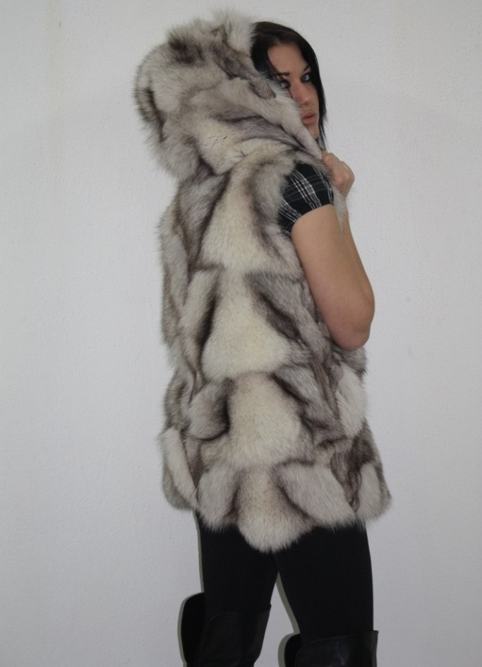 arctic blue fox fur vest with hood rear view