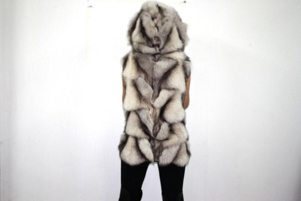 blue fox vest with hood