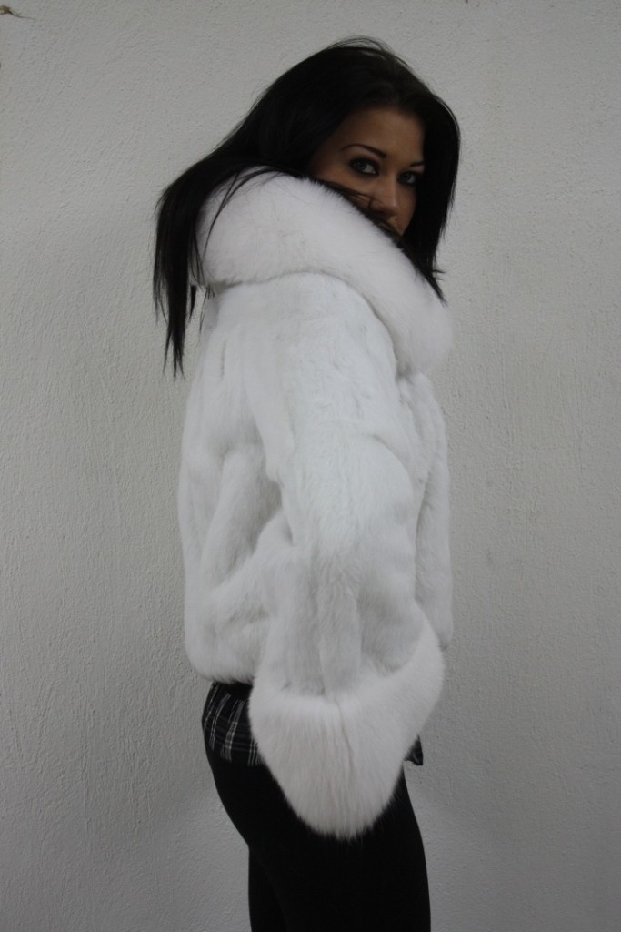 white rex fur jacket with fox collar in our fur store
