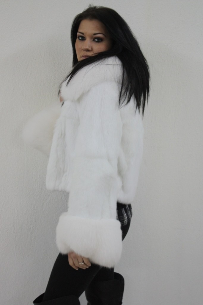 white rex fur in fur store