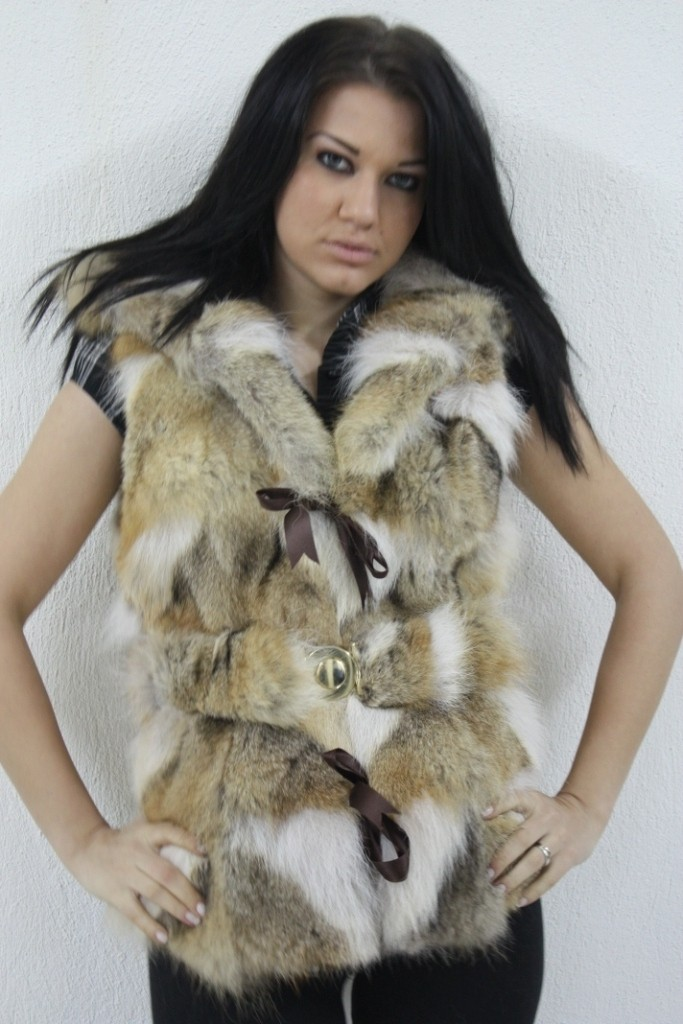 coyote fur vest hooded rear view