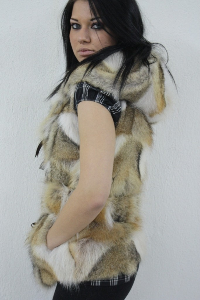 coyote fir vest with hood side view
