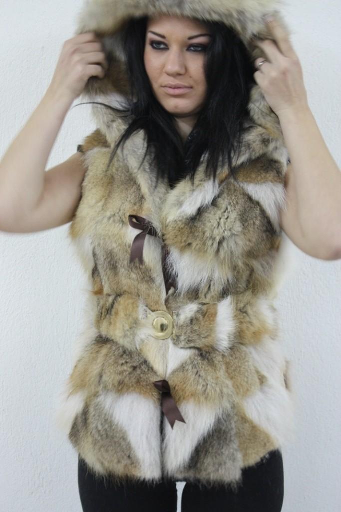 coyote fur vest hood
